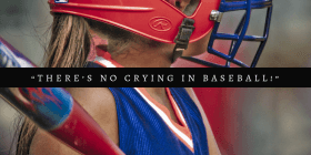 """young baseball player with text """"there's no crying in baseball"""""""